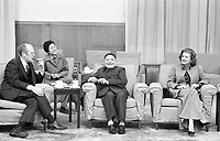 President and Mrs. Ford, Vice Premier Deng Xiao Ping, and Deng's interpreter have a cordial chat during an informal meeting in Beijing, China.  3 December 1975