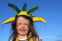 Kerry fan Abbie O'Sullivan (7) dons the green and gold for he up comming kerry and Mayo quater semi-final at the weekend.<br /> Picture by Mary Susan MacMonagle.