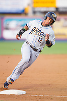 Francisco Lindor (12) of the Akron Rubber Ducks rounds third base during the game against the Reading Fightin Phils at FirstEnergy Stadium on June 19, 2014 in Wappingers Falls, New York.  The Rubber Ducks defeated the Fightin Phils 3-2.  (Brian Westerholt/Four Seam Images)