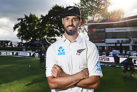 30th November 2019, Hamilton, New Zealand;  Daryl Mitchell at the end of day 2 of 2nd test match between New Zealand and England,  International Cricket at Seddon Park, Hamilton, New Zealand.  - Editorial Use