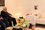 Palestinian President Mahmoud Abbas (Abu Mazen) meets with Crown Prince of Abu Dhabi, Deputy Supreme Commander of UAE Armed Forces Sheikh Mohammed bin Zayed Al Nahyan in Abu Dhabi on Oct. 23, 2011. Photo by Thaer Ganaim