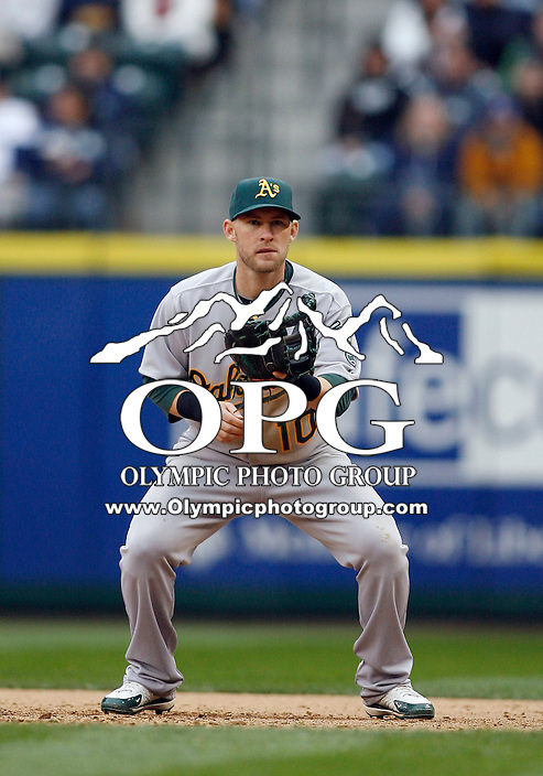 12 April 2010: Oakland A's first baseman #10 Daric Barton sets up on defense against the Seattle Mariners. Oakland won 4-0 over Seattle at Safeco Field in Seattle, Washington.