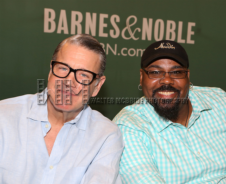 Jonathan Freeman and James Monroe Iglehart attend the 'Aladin' Broadway Cast CD Signing at Barnes & Noble Citigroup Center on June 20, 2014 in New York City.