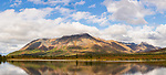 Composite panorama of the Clearwater Mountains and lake near Windy Creek along the Denali Highway in Southcentral Alaska. Autumn. Afternoon.