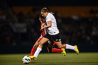 Portland Thorns midfielder Tobin Heath (17) and Western New York Flash midfielder Carli Lloyd (10) battle for the ball. The Portland Thorns defeated the Western New York Flash 2-0 during the National Women's Soccer League (NWSL) finals at Sahlen's Stadium in Rochester, NY, on August 31, 2013.