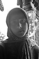 Portrait of young Bakarwal gypsy girl, Western Himalayan Mountains, Kashmir, India..