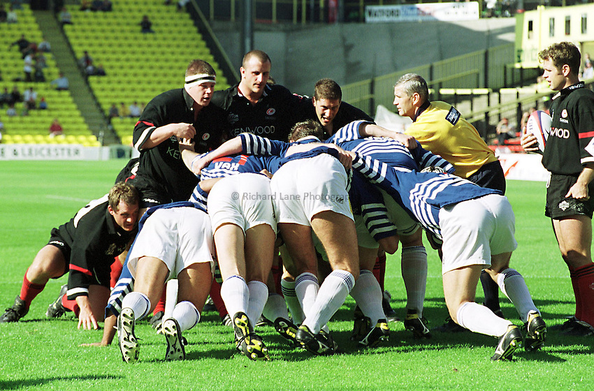 Photo. Richard Lane. .Saracens v Sale. 20/9/98. Saracens front row (Paul Wallace, George Chuter and Roberto Grau) camp out on the sale line.