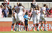 01.08.2015. RheinEnergieStadion, Cologne, Germany.  Colognes Anthony Modeste 27 celebrates the 1-0 goal with Frederik Sorensen during the Colonia Cup 2015 between  FC Cologne and Stoke City FC