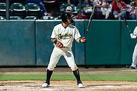 Visalia Rawhide second baseman Jose Caballero (7) during a California League game against the Rancho Cucamonga Quakes on April 8, 2019 in Visalia, California. Rancho Cucamonga defeated Visalia 4-1. (Zachary Lucy/Four Seam Images)