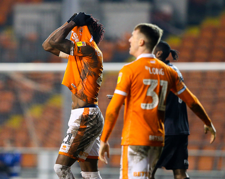 Blackpool's Armand Gnanduillet reacts to a missed chance<br /> <br /> Photographer Alex Dodd/CameraSport<br /> <br /> The EFL Sky Bet League One - Blackpool v Shrewsbury Town - Saturday 19 January 2019 - Bloomfield Road - Blackpool<br /> <br /> World Copyright © 2019 CameraSport. All rights reserved. 43 Linden Ave. Countesthorpe. Leicester. England. LE8 5PG - Tel: +44 (0) 116 277 4147 - admin@camerasport.com - www.camerasport.com