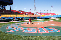 View left field from home in historic Rosenblatt Stadium. This is the last season for the historic venue. May 5th, 2010; Oklahoma CIty Redhawks vs Omaha Royals at historic Rosenblatt Stadium in Omaha Nebraska.  Photo by: William Purnell/Four Seam Images