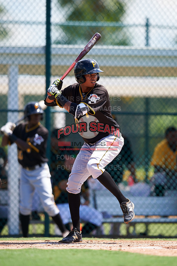 Pittsburgh Pirates third baseman Alfredo Reyes (12) during an Instructional League Intrasquad Black & Gold game on September 21, 2016 at Pirate City in Bradenton, Florida.  (Mike Janes/Four Seam Images)