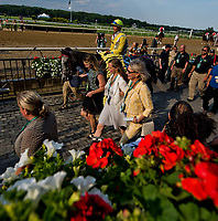 ELMONT, NY - JUNE 10: Ascend #5, ridden by Jose Ortiz, approaches the winner's circle after winning the Woodford Reserve Manhattan Stakes on Belmont Stakes Day at Belmont Park on June 10, 2017 in Elmont, New York (Photo by Scott Serio/Eclipse Sportswire/Getty Images)