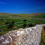 Dry stone walls, Limestone scenery, Malham Cove, Yorkshire Dales national park, England
