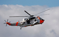 Sea King Mk 43B rescue helicopter performs a SAR (Search And Rescue) demonstration at Rygge Airshow. Norway