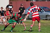 Chris Falkner steps inside Counties Manukau Premier Club Rugby game bewtween Waiuk & Karaka played at Waiuku on Saturday April 11th, 2010..Karaka won the game 24 - 22 after leading 21 - 9 at halftime.