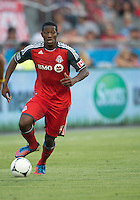 18 July 2012: Toronto FC defender Doneil Henry #4 in action during an MLS game between the Colorado Rapids and Toronto FC at BMO Field in Toronto, Ontario..Toronto FC won 2-1..