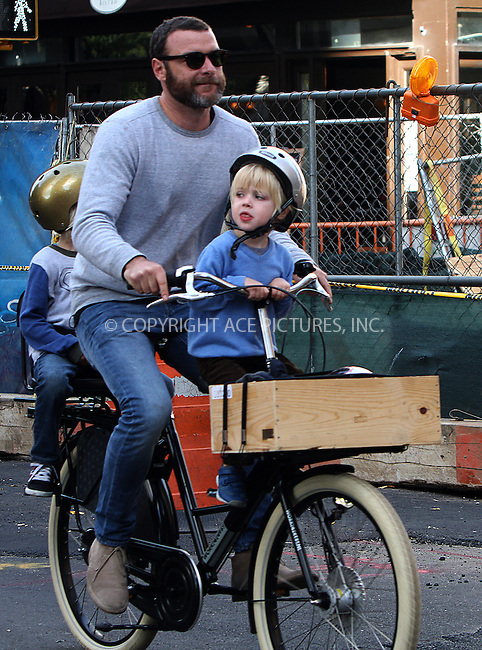 WWW.ACEPIXS.COM....October 18 2012, New York City....Actor Liev Schreiber takes his children Sasha and Sam oiut in their downtown neighborhood on October 18 2012 in New York City....By Line: Zelig Shaul/ACE Pictures......ACE Pictures, Inc...tel: 646 769 0430..Email: info@acepixs.com..www.acepixs.com