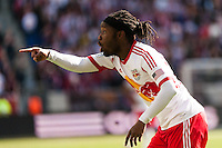 Peguy Luyindula (88) of the New York Red Bulls questions an offside call during the first half against the Philadelphia Union during a Major League Soccer (MLS) match at Red Bull Arena in Harrison, NJ, on March 30, 2013.