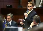Nevada Sen. Pat Spearman, D-Las Vegas, speaks on the Senate floor during the final day of the 77th Legislative session at the Legislative Building in Carson City, Nev., on Monday, June 3, 2013. <br /> Photo by Cathleen Allison