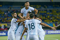 PEREIRA - COLOMBIA, 30-01-2020: Jugadores de Argentina celebran después de anotar el primer gol de su equipo durante partido entre Venezuela U-23 y Argentina U-23 por la fecha 5, grupo A, del CONMEBOL Preolímpico Colombia 2020 jugado en el estadio Hernán Ramírez Villegas de Pereira, Colombia. / Players of Argentina celebrate after scoring the first goal of their team during the match between Venezuela U-23 and Argentina U-23 for the date 5, group A, for the CONMEBOL Pre-Olympic Tournament Colombia 2020 played at Hernan Ramirez Villegas stadium in Pereira, Colombia. Photo: VizzorImage / Julian Medina / Cont