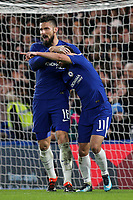 Pedro celebrates scoring Chelsea's second goal with Olivier Giroud during Chelsea vs Hull City, Emirates FA Cup Football at Stamford Bridge on 16th February 2018