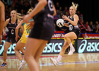 20.10.2016 Silver Ferns Laura Langman in action during the Silver Ferns v Australia netball test match played at ILT Stadium in Invercargill. Mandatory Photo Credit ©Michael Bradley.