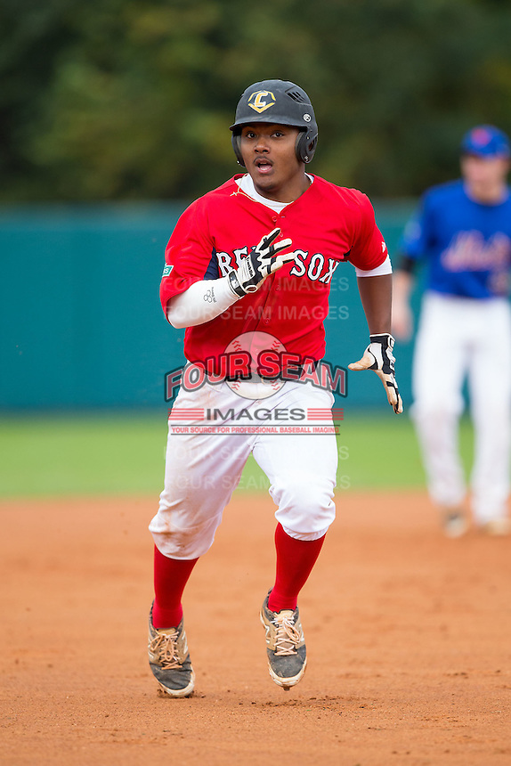 Cobie Vance (2) of Pine Forest High School in Fayetteville, North Carolina playing for the Boston Red Sox scout team at the South Atlantic Border Battle at Doak Field on November 1, 2014.  (Brian Westerholt/Four Seam Images)