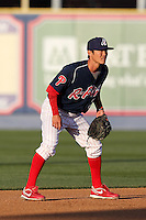 Reading Phillies shortstop Troy Hanzawa #2 during a game against the Portland Seadogs at FirstEnergy Stadium on April 7, 2012 in Reading, Pennsylvania.  Reading defeated Portland 4-1.  (Mike Janes/Four Seam Images)