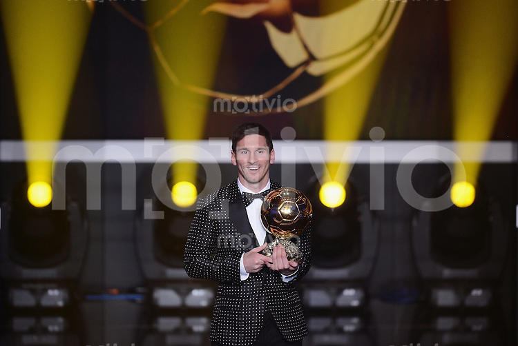 Fussball International  FIFA Ballon d Or   07.01.2013 Weltfussballer 2012  Lionel Messi (Argentinien) das vierte mal in Folge