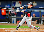 2 March 2010: Atlanta Braves center fielder Nate McLouth loses his grip on the bat in action against the New York Mets during the Opening Day of Grapefruit League play at Tradition Field in Port St. Lucie, Florida. The Mets defeated the Braves 4-2 in Spring Training action. Mandatory Credit: Ed Wolfstein Photo
