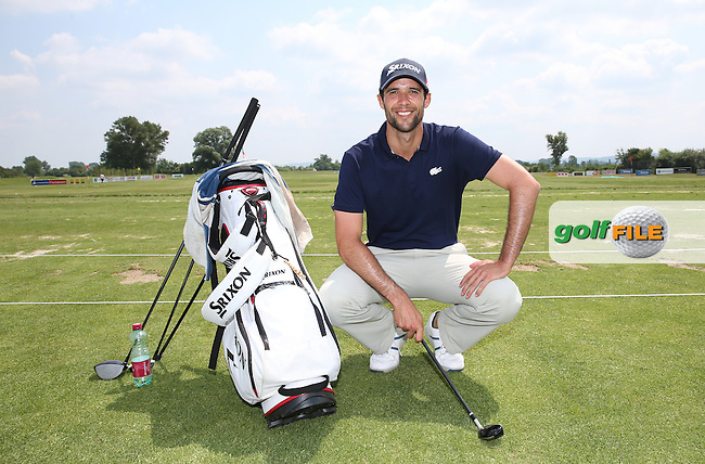 Challenge Tour golfer Adrien Bernadet of France on the driving range during the practice day ahead of the 2015 Lyoness Open powered by Greenfinity at the Diamond Country Club, Atzenbrugg, Vienna, Austria. 09/06/2015. Picture: Golffile | David Lloyd<br /> <br /> All photos usage must carry mandatory copyright credit (&copy; Golffile | David Lloyd)