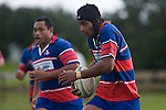 Sikeli Nabou makes a run upfield with Sione Kepu in support. Counties Manukau Premier rugby game between Waiuku & Ardmore Marist played at Waiuku on Saturday May 10th 2008..Ardmore Marist won 27 - 6 after leading 10 - 6 at halftime.