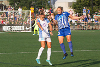 Allston, MA - Saturday August 19, 2017: Monica Hickmann Alves, Adriana Leon during a regular season National Women's Soccer League (NWSL) match between the Boston Breakers and the Orlando Pride at Jordan Field.