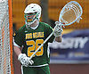 Collin Krieg #28, Ward Melville goalie, guards the net during a non-league varsity boys lacrosse game against host Chaminade High School on Saturday, April 7, 2018. Ward Melville won by a score of 11-7.