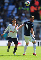 Tottenham Hotspur's Erik Lamela vies for possession with  West Bromwich Albion's Chris Brunt<br /> <br /> Photographer Ashley Crowden/CameraSport<br /> <br /> The Premier League - West Bromwich Albion v Tottenham Hotspur - Saturday 5th May 2018 - The Hawthorns - West Bromwich<br /> <br /> World Copyright &copy; 2018 CameraSport. All rights reserved. 43 Linden Ave. Countesthorpe. Leicester. England. LE8 5PG - Tel: +44 (0) 116 277 4147 - admin@camerasport.com - www.camerasport.com