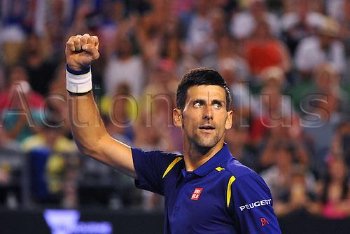 26.01.2016. Melbourne Park, Melbourne, Australia. Australian Open Tennis Championships.  Novak Djokovic (SRB)  during his quarter-final win over K Nishikori (JPN)  in 3 sets