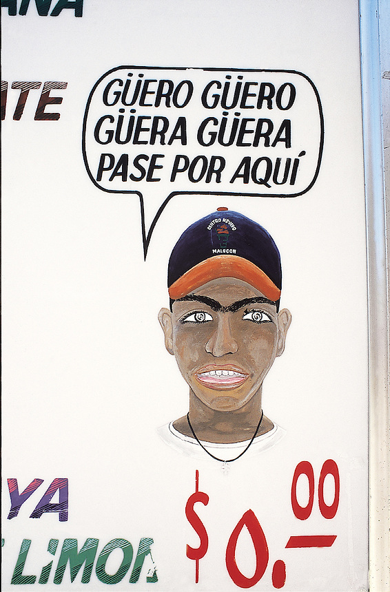 """a """"rotulo"""", home made advertising signs, becons blonds (foreigners) to visit this establishment.  Veracruz, Mexico 2002"""
