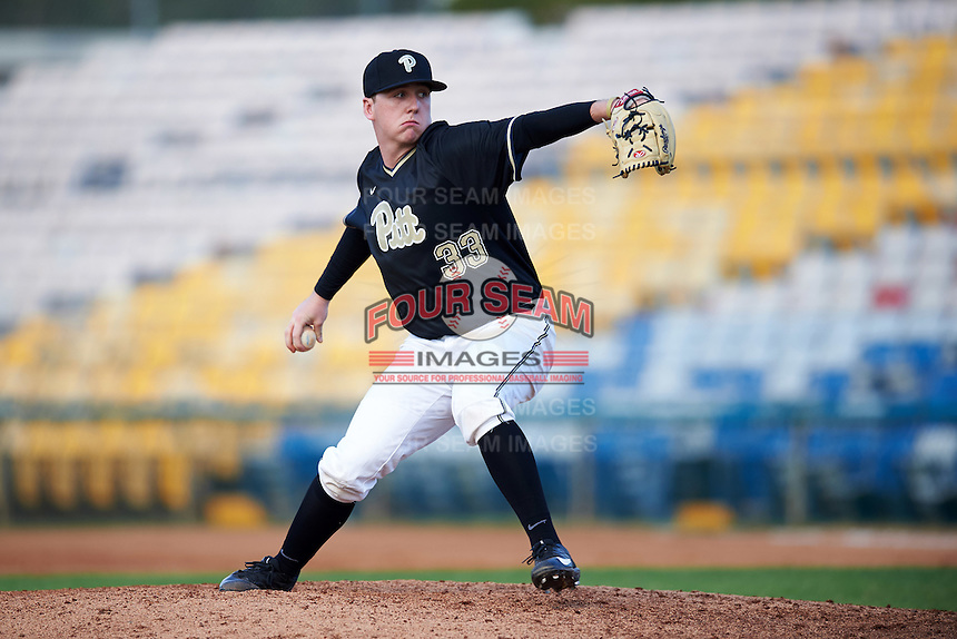 Pittsburgh Panthers relief pitcher RJ Freure (33) delivers a pitch during a game against the Siena Saints on February 24, 2017 at Historic Dodgertown in Vero Beach, Florida.  Pittsburgh defeated Siena 8-2.  (Mike Janes/Four Seam Images)