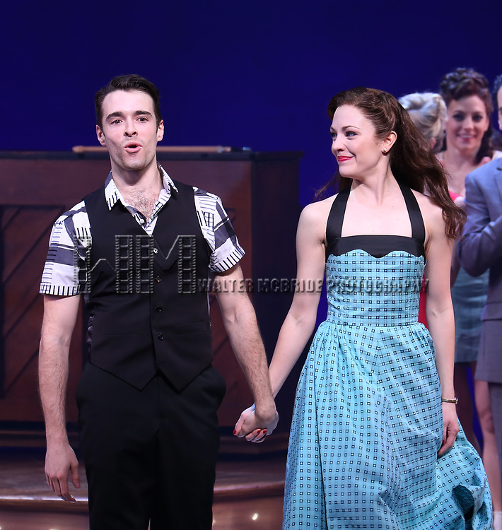 Corey Cott and Laura Osnes during the Broadway Opening Night Curtain Call Bows of 'Bandstand' at the Bernard B. Jacobs Theatre on 4/26/2017 in New York City.