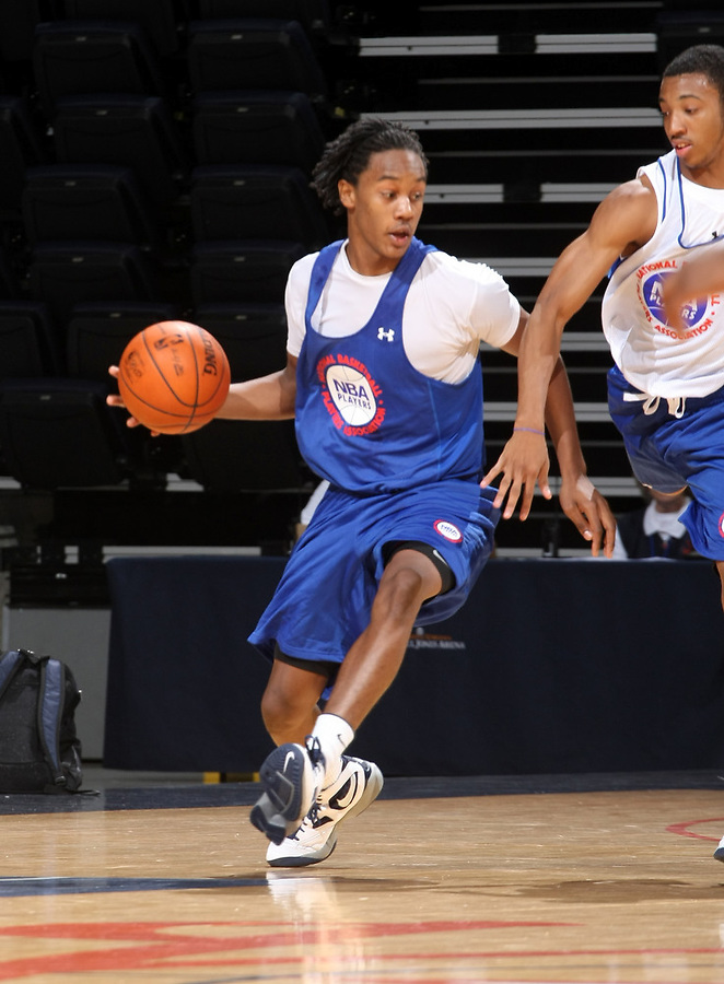 Levi Randolph at the NBPA Top100 camp at the John Paul Jones Arena Charlottesville, VA. Visit www.nbpatop100.blogspot.com for more photos. (Photo © Andrew Shurtleff)