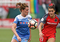 Portland, OR - Saturday April 29, 2017: Arin Gilliland, Hayley Raso during a regular season National Women's Soccer League (NWSL) match between the Portland Thorns FC and the Chicago Red Stars at Providence Park.