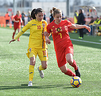 20180326 - ZALTBOMMEL , THE NETHERLANDS : Belgian Karlijn Knapen (R) and Romanian Ana Maria Vladulescu (L) pictured during the UEFA Women Under 17 Elite round game between Belgium WU17 and Romania WU17, on the second matchday in group 1 of the Uefa Women Under 17 elite round in The Netherlands , monday 26 th March 2018 . PHOTO SPORTPIX.BE    DIRK VUYLSTEKE
