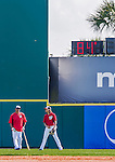 5 March 2015: Washington Nationals first base coach Tony Tarasco (left) chats with infielder Emmanuel Burriss in the outfield prior to a Spring Training game against the New York Mets at Space Coast Stadium in Viera, Florida. The Nationals rallied to defeat the Mets 5-4 in Grapefruit League play. Mandatory Credit: Ed Wolfstein Photo *** RAW (NEF) Image File Available ***