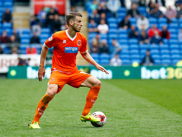 Blackpool's Andrea Orlandi in action during todays match  <br /> <br /> Photographer Simon King/CameraSport<br /> <br /> Football - The Football League Sky Bet Championship - Cardiff City v Blackpool - Saturday 25th April 2015 - Cardiff City Stadium - Cardiff<br /> <br /> &copy; CameraSport - 43 Linden Ave. Countesthorpe. Leicester. England. LE8 5PG - Tel: +44 (0) 116 277 4147 - admin@camerasport.com - www.camerasport.com