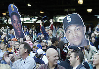 04 October 2009: Giant fat heads of Ken Griffey Jr and Adrian Beltre waved in the stands during the game against the Texas Rangers. Seattle won 4-3 over the Texas Rangers at Safeco Field in Seattle, Washington.