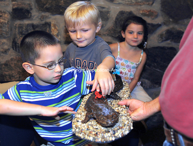 WINSTED CT.-12 AUGUST 2010 081210DA01- From left, Alex Holloway, 4, Brett Macguire, 3, and Kaitlyn Condon, 5, look over replicas of salamanders held by Mike Docent, zoo docent, during a  demonstration on how animal habitats are being impacted by humans and their environment. The program was put on by Jim Knox a zoo educator for The Beardsley Zoo in Bridgeport and held at the Winsted Bearsley and Memorial Library Thursday. Darlene Douty/ <br /> Republican-American
