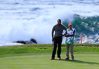 Arizona Cardinals wide receiver Larry Fitzgerald on the 7th green at Pebble Beach Golf Links during Saturday's Round 3 of the 2017 AT&amp;T Pebble Beach Pro-Am held over 3 courses, Pebble Beach, Spyglass Hill and Monterey Penninsula Country Club, Monterey, California, USA. 11th February 2017.<br /> Picture: Eoin Clarke | Golffile<br /> <br /> <br /> All photos usage must carry mandatory copyright credit (&copy; Golffile | Eoin Clarke)