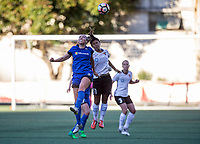 Seattle, WA - Saturday July 22, 2017: Lindsay Elston, Raquel Rodriguez during a regular season National Women's Soccer League (NWSL) match between the Seattle Reign FC and Sky Blue FC at Memorial Stadium.