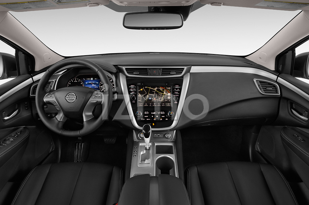 Stock photo of straight dashboard view of 2019 Nissan Murano SL 5 Door SUV Dashboard